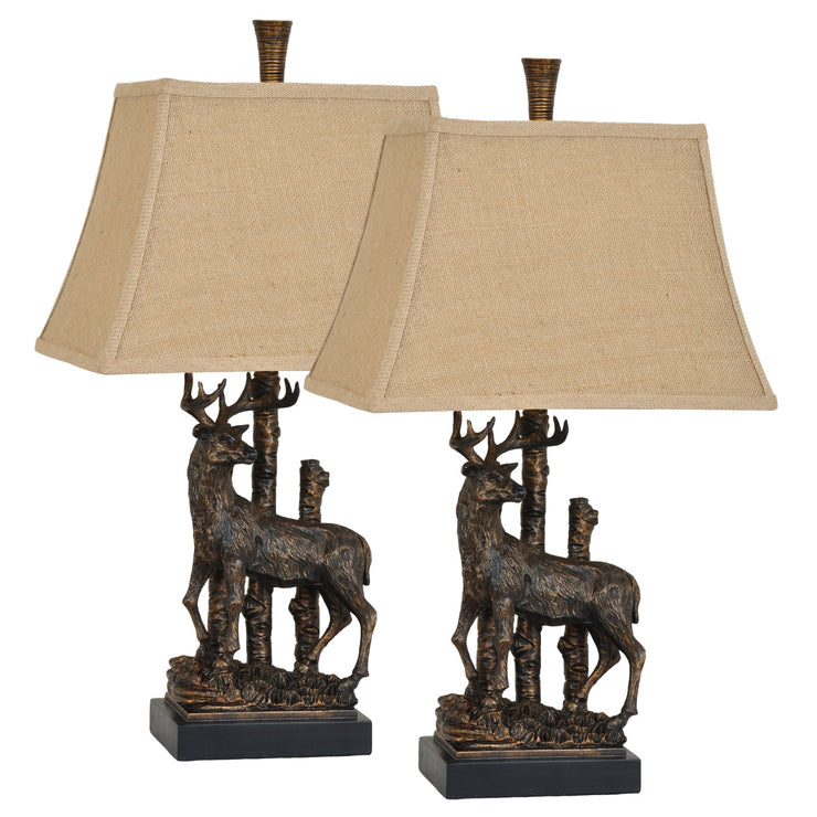 Sculptured Deer Table Lamp Set of 2