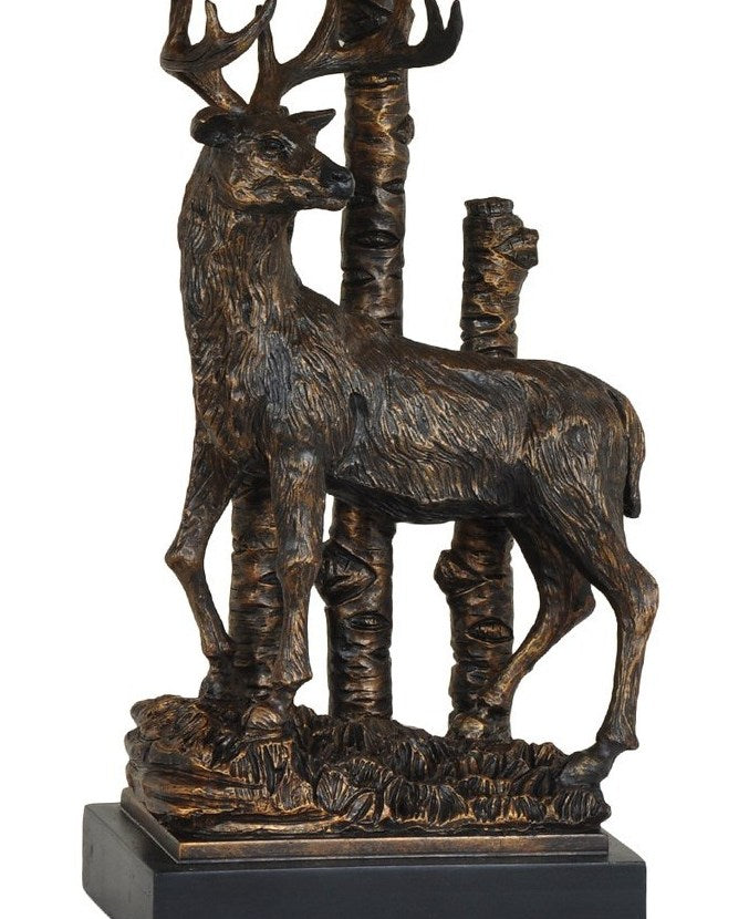 Sculptured Deer Table Lamp Base Close-up