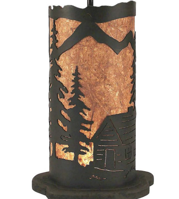 Cabin Scene Table Lamp w/Night Light Base Close-up