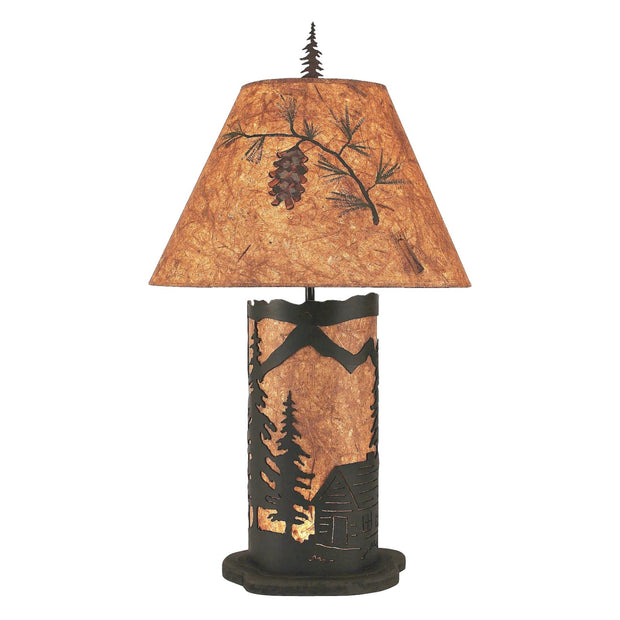 Cabin Scene Table Lamp w/Night Light