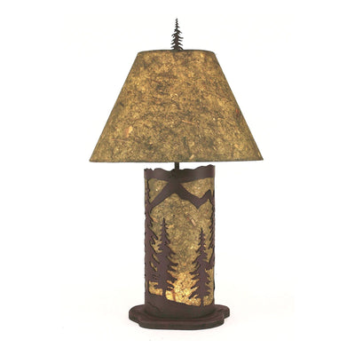 Mountain Scene with Night Light Table Lamp - Small