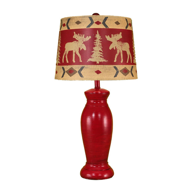 Brick Red Table Lamp w/Moose Shade