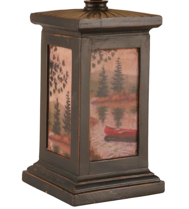 Square Canoe Scene Table Lamp - Large Base Close-up