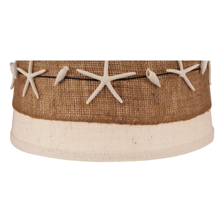 Burlap Band with Authentic Starfish and Shells Drum Lamp Shade Close-up