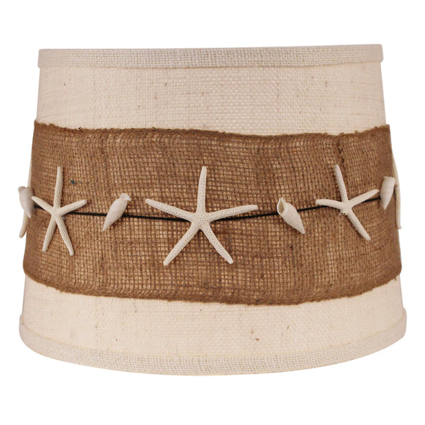 Burlap Band with Authentic Starfish and Shells Drum Lamp Shade
