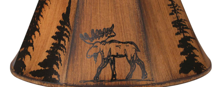 Stencil Moose and Trees Faux Leather Lamp Shade