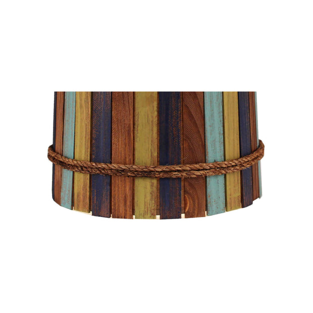 Bright Stripe Wood Panel Lamp Shade Close-up