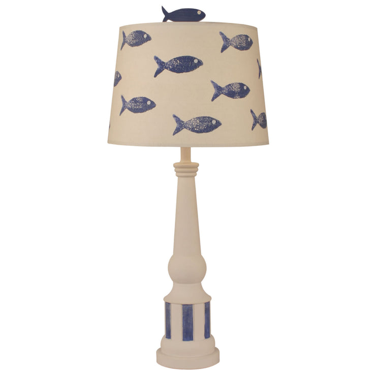 Striped Pedestal Fish Table Lamp