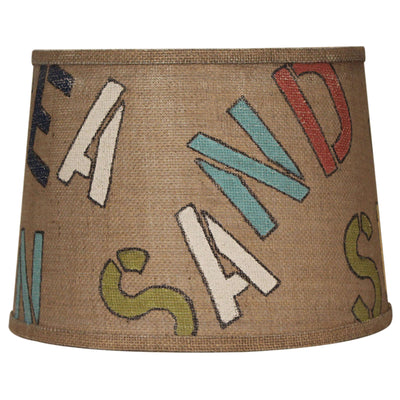 Sun Sea Sand Stenciled Drum Burlap Lamp Shade