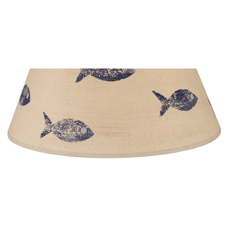 Swimming Fish Lamp Shade - Navy Close-up
