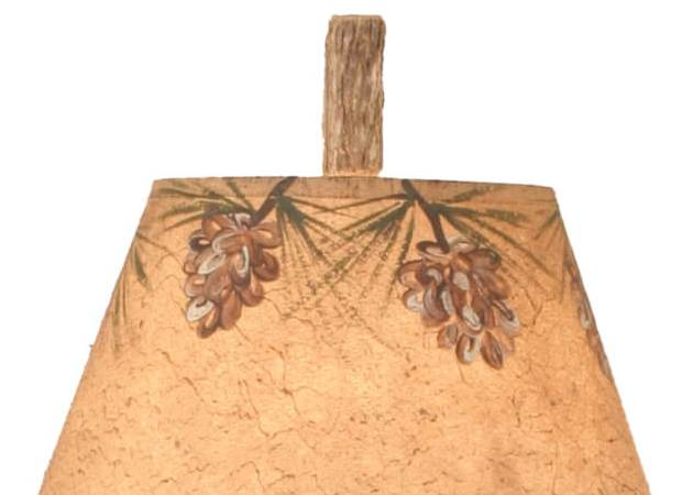 Twig & Leather Pine Cone Accent Lamp Shade Close-up