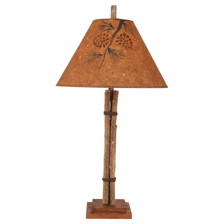 Twig & Leather Pine Cone Table Lamp