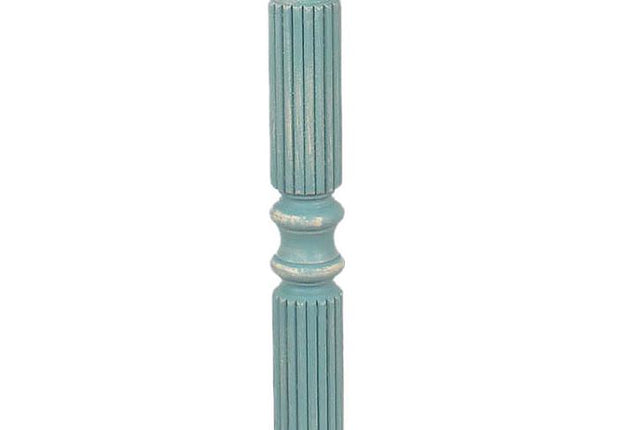Weathered Turquoise Ribbed Floor Lamp Base Close-up