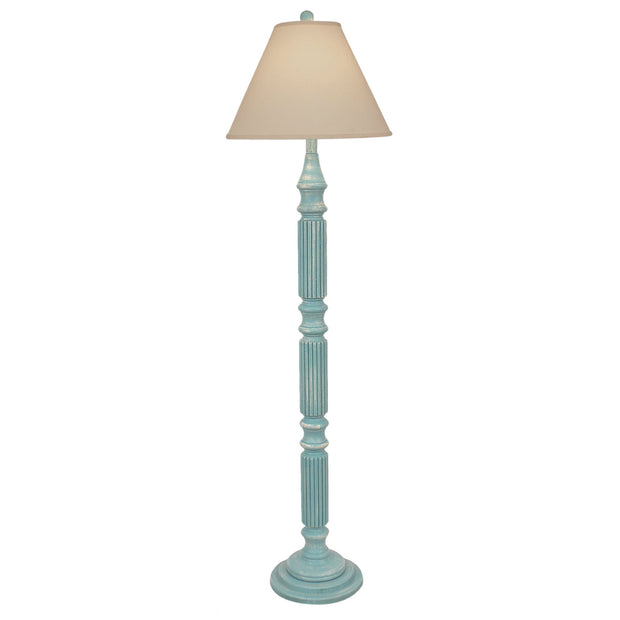 Weathered Turquoise Ribbed Floor Lamp