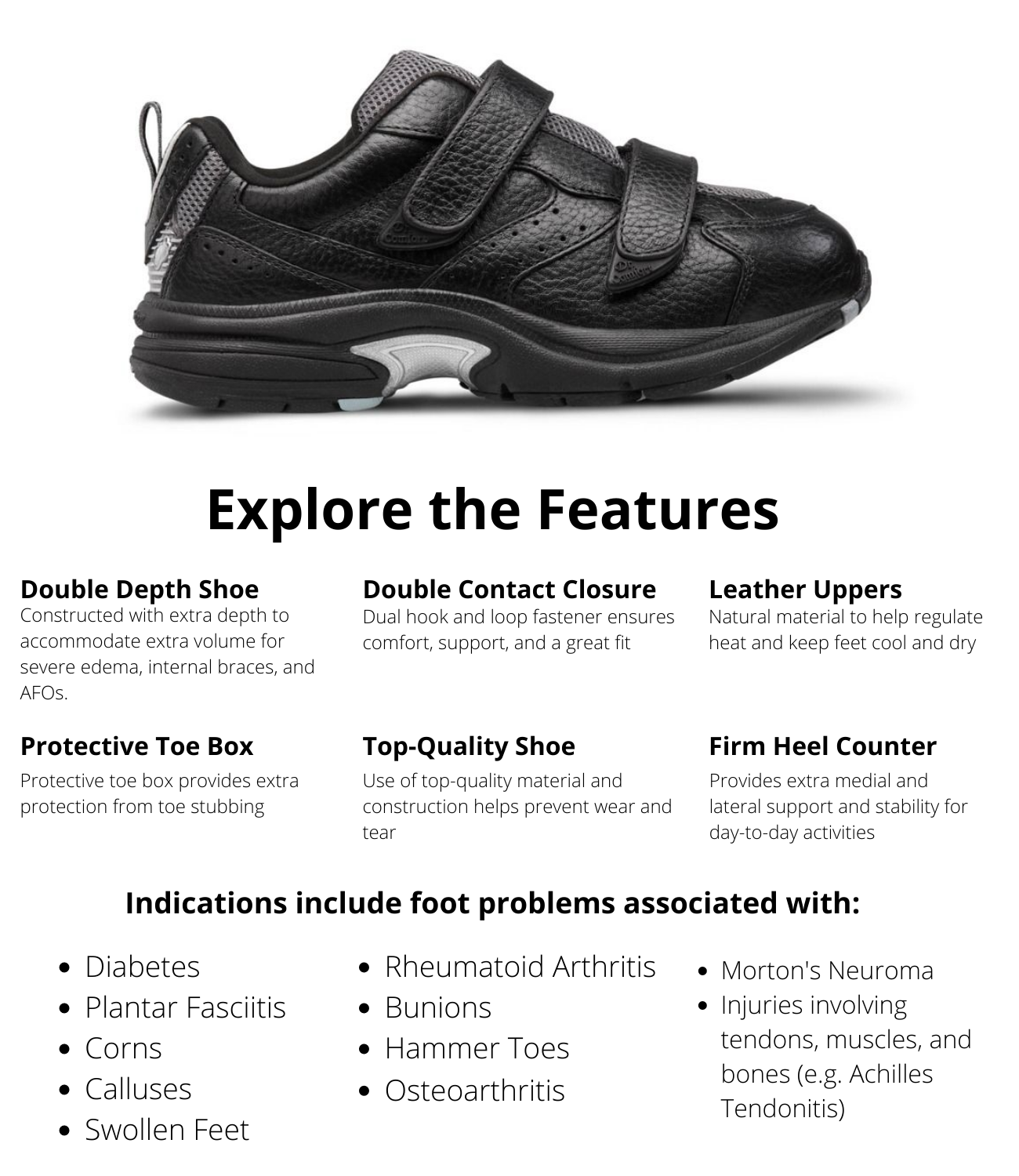 Dr.Comfort Women's Spirit-X Double Depth Diabetic Athletic Shoe - Black