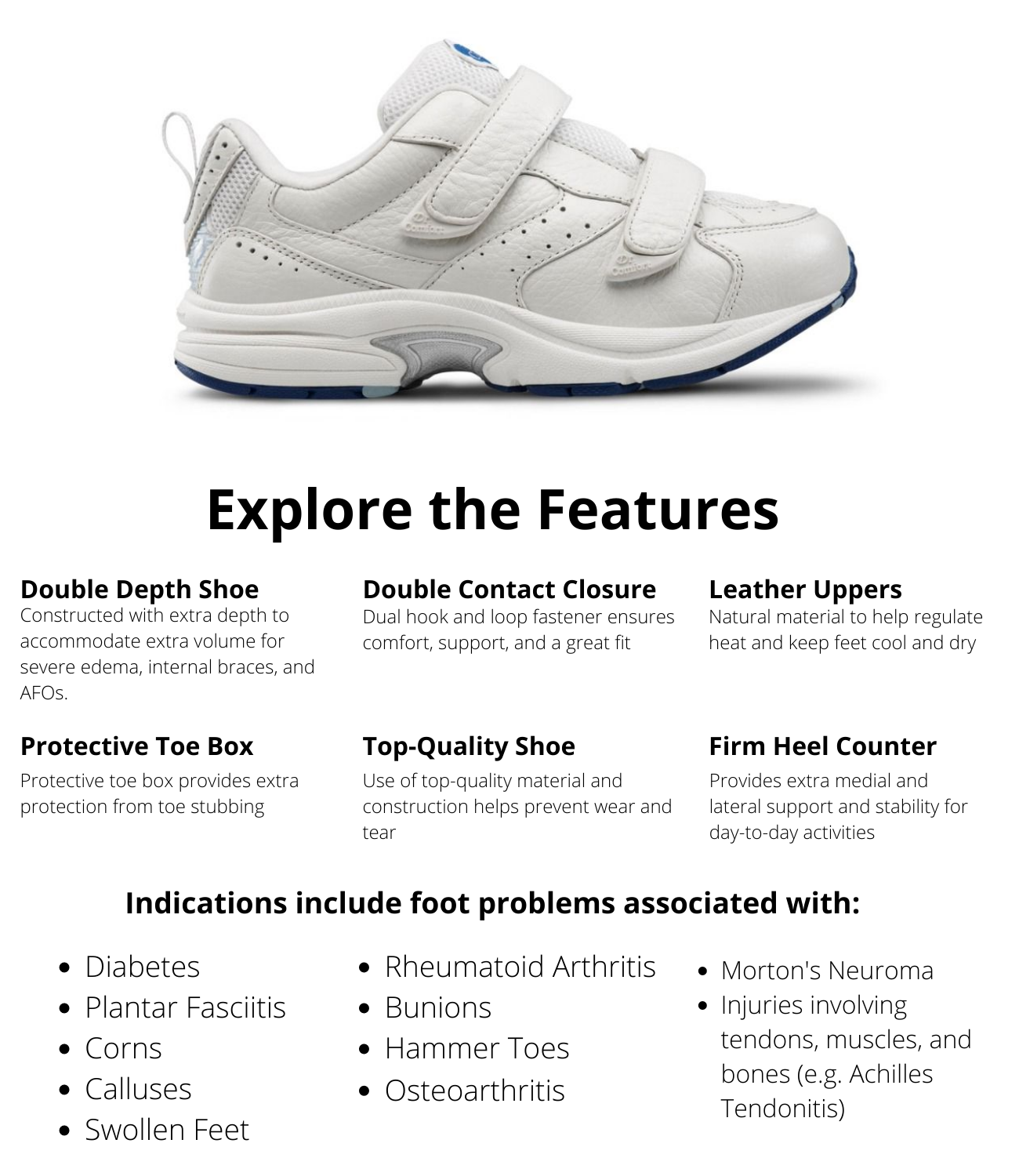Dr.Comfort Women's Spirit-X - White Diabetic Shoes Information