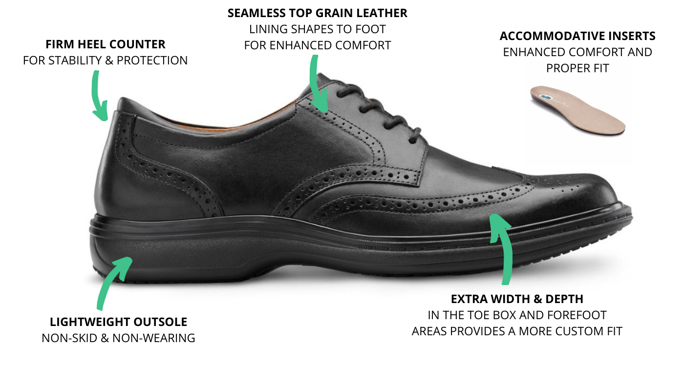Dr. Comfort Men's Wing Therapeutic Diabetic Comfort Shoes Information Photo