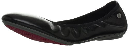 Hush Puppies Women's Chaste Ballet Flat,Black Leather,8 M US