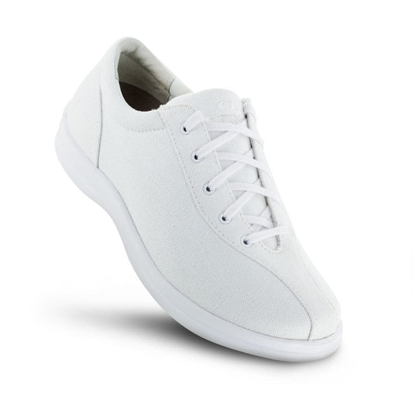 Apex Womens Ellen Causal Diabetic Shoe, White - Top View