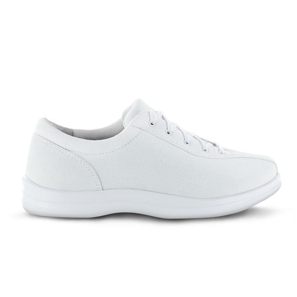 Apex Womens Ellen Causal Diabetic Shoe, White - Side View