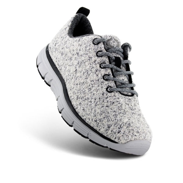 Apex Women's Natural Knit Athletic Diabetic Walking Shoe, Light Grey - Top View