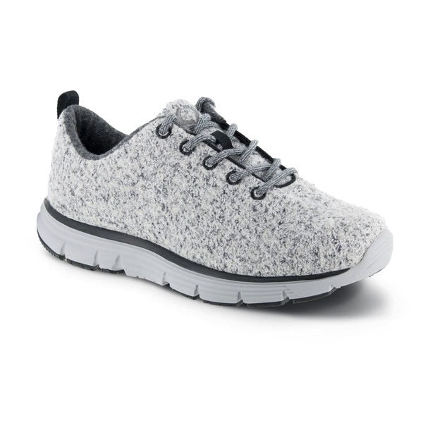 Apex Women's Natural Knit Athletic Diabetic Walking Shoe, Light Grey - Side View