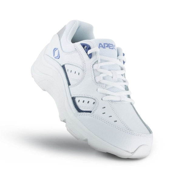 Apex Womens Voyage Walker Athletic Diabetic Shoe, White -Top View