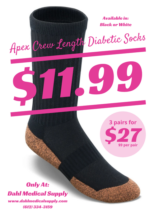 Copper Cloud Crew Length Diabetic Socks