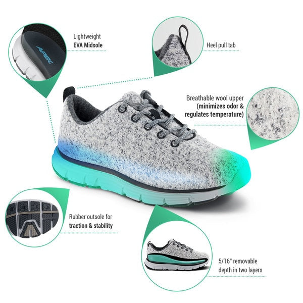 Apex Women's Natural Knit Athletic Diabetic Walking Shoe, Light Grey - Product Information
