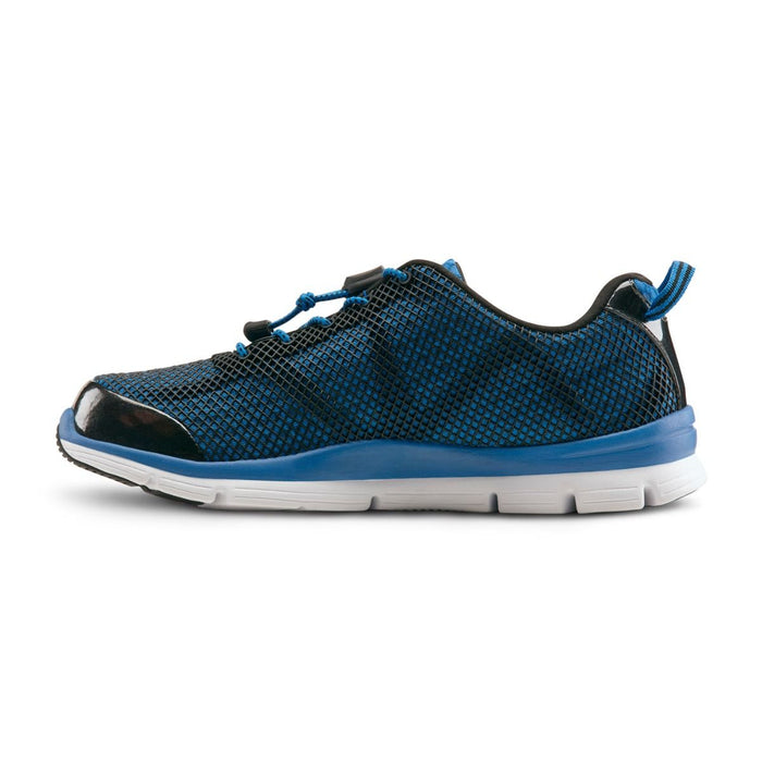 Dr.Comfort Men's Jason Therapeutic Running Shoe, Blue - Flip View | Dahl Medical Supply