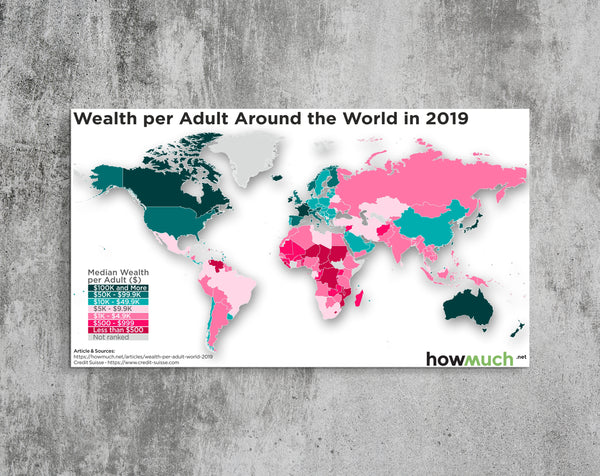 Wealth per Adult Around the World in 2019