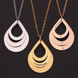 Engraved Drop Shaped Family Necklace