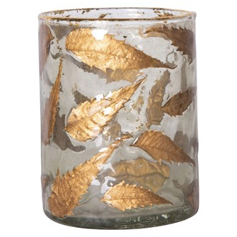 Small Hurricane Candle Holder w/ Gold Leaves