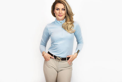 PS of Sweden Poloshirt Longsleeve Bonnie, Sky Blue