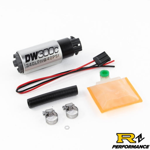 DeatschWerks 340lph DW300C Compact Fuel Pump with Universal Install Kit 9-309-1000