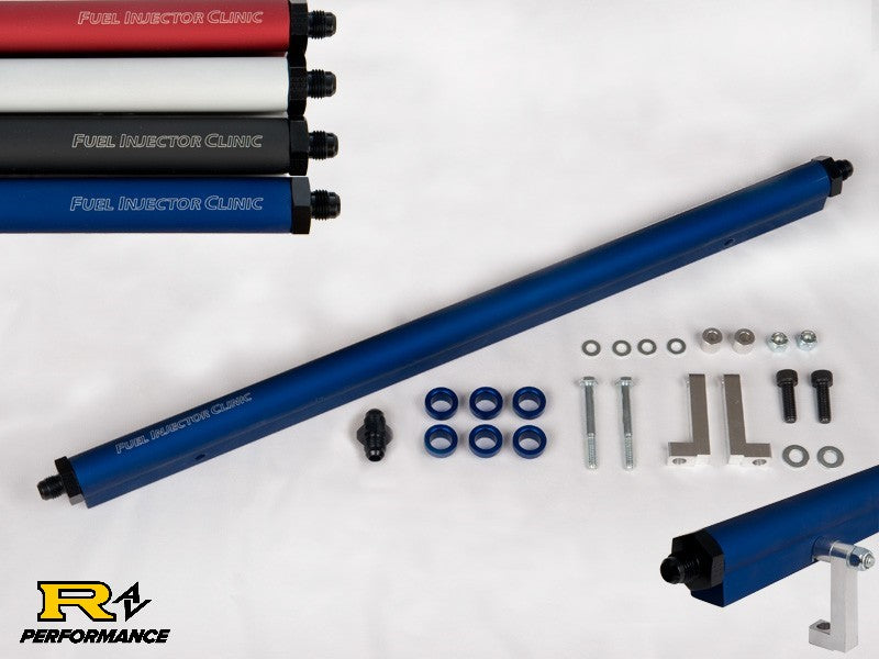 Fuel Injector Clinic Toyota Supra 2JZ-GTE Dark Blue Fuel Rail -8 Inlet Fittings -6 Outlet Fitting RL SUPRA -8 Blue