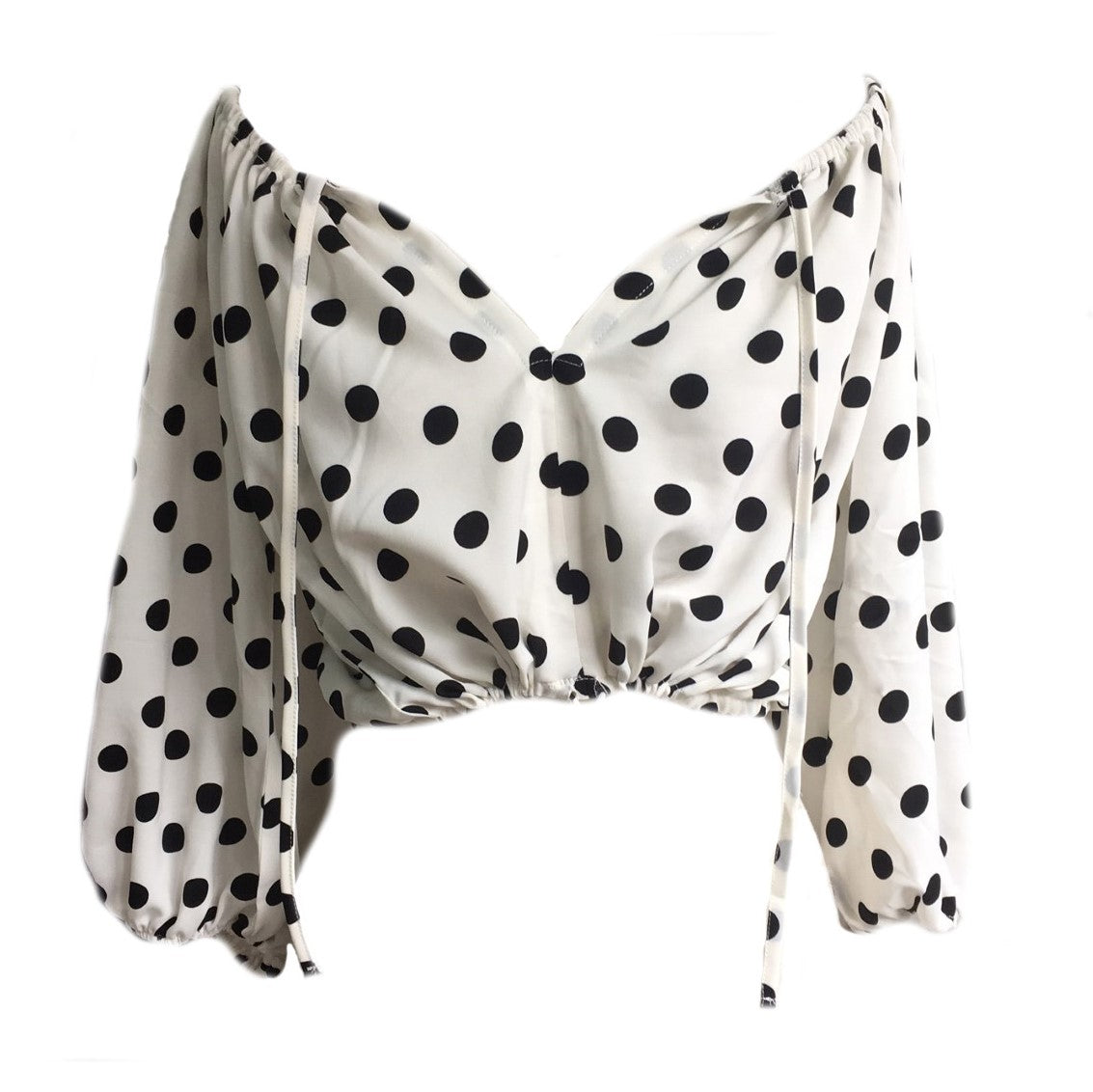 Polka Dot short top- White