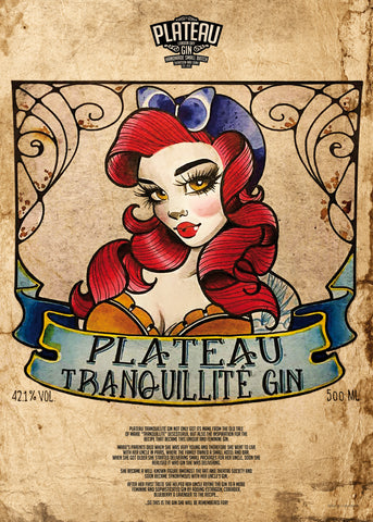 Super fed plakat for Plateau Tranquillite Gin, illustration af Lara Vali