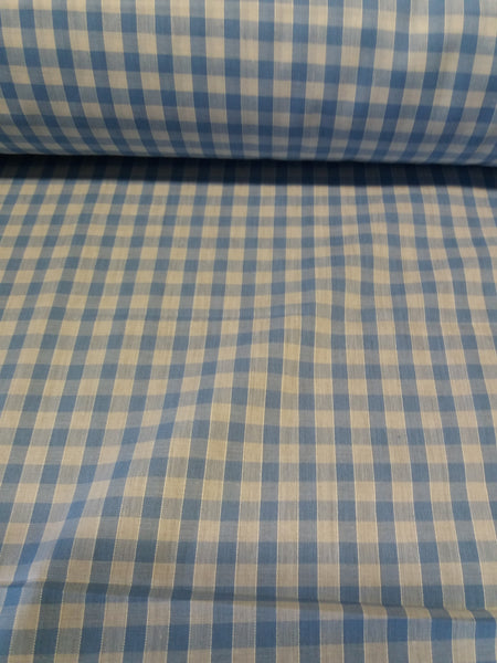 blue gingham polycotton
