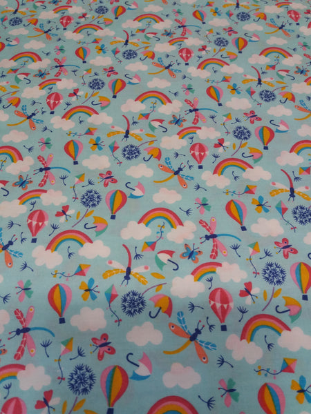 mint rainbows and bugs cotton poplin