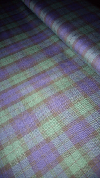 Blue/green tartan woven fabric