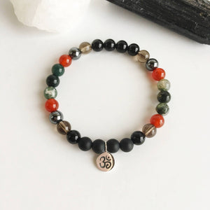 Black Onyx, smoky Quartz, Carnelian, and Moss