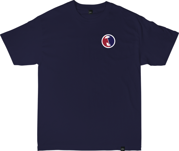 BEACHY SPLIT TEE IN NAVY
