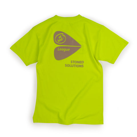 STONED SOLUTIONS TEE IN NEON