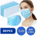 30 Pcs Disposable 3-ply Filtration Masks (BFE≥95%)