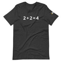 Load image into Gallery viewer, 2+2 = 4 Short-Sleeve Unisex T-Shirt with Disrn Sleeve Logo