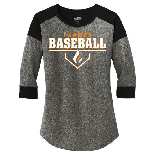 New Era Ladies Heritage 3/4 Sleeve Baseball Tee (Plate Logo)