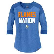 Load image into Gallery viewer, New Era Ladies Heritage 3/4 Sleeve Baseball Tee (Flames Nation Logo)