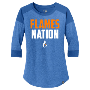 New Era Ladies Heritage 3/4 Sleeve Baseball Tee (Flames Nation Logo)