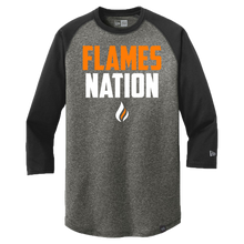 Load image into Gallery viewer, New Era Heritage 3/4 Sleeve Baseball Tee (Flames Nation Logo)